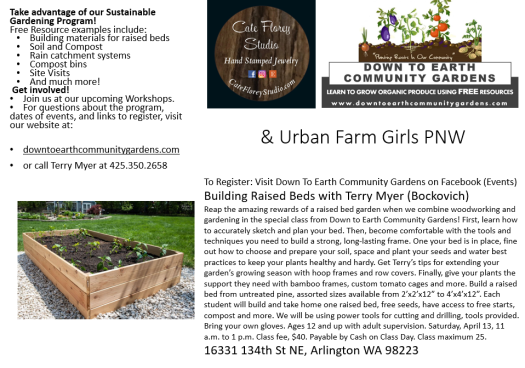 Cate Florey Raised Bed class April 13 11am to 1pm